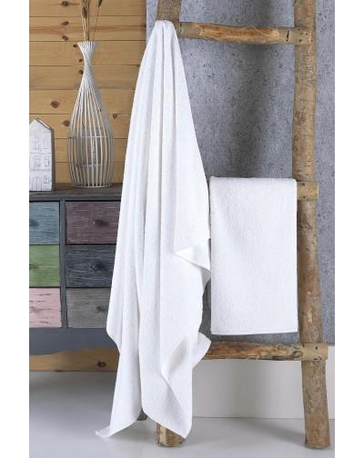 Eponj 2 li Pamuklu Havlu Seti Beyaz 50x90 cm - 100x150 cm